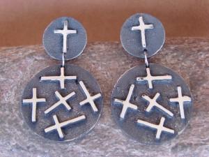 Native American Indian Jewelry Sterling Silver Cross Earrings by Ernest Rangel