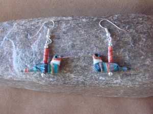 Hand Carved Calsilica Hummingbird Fetish Earrings by Matt Mitchell!