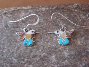 Zuni Indian Sterling Silver Multi-Stone Inlaid Hummingbird Earrings by Natewa