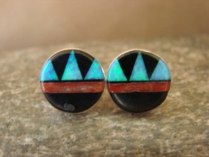 Zuni Indian Jewelry Sterling Silver Blue Opal Multistone Inlay Post Earrings! T. Martinez