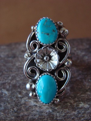 Native American Indian Jewelry Sterling Silver Turquoise Ring, Size 6 1/2  K. Jones
