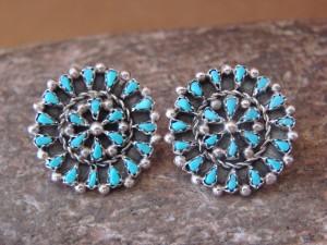 Zuni Indian Jewelry Sterling Silver Flower Post Earrings by Tricia Leekity