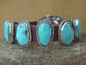 Native American Indian Jewelry Leather Turquoise Bracelet  - Tim Yazzie