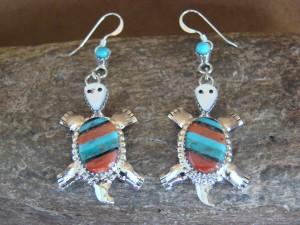 Zuni Indian Sterling Silver Turquoise & Coral Turtle Dangle Earrings! Wayne Haloo