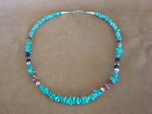 Navajo Indian Jewelry Hand Strung Turquoise Chip and Jasper Necklace T&R Singer