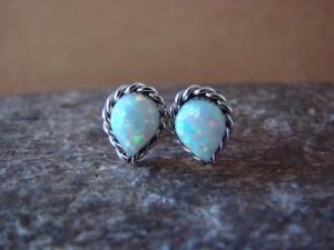 Zuni Indian Jewelry Sterling Silver Teardrop White Opal Post Earrings!