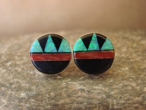 Zuni Indian Jewelry Sterling Silver Green Opal Multistone Inlay Post Earrings! T. Martinez