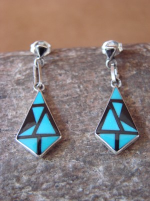 Zuni Indian Jewelry Sterling Silver Inlay Dangle Earrings by Delberta Boone