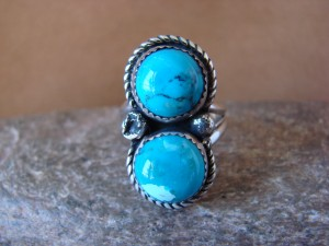Navajo Indian Jewelry Nickel Silver Turquoise Ring Size 8 1/2, Glen Nez