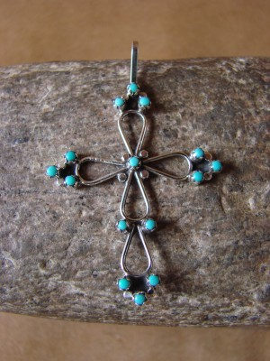Zuni Indian Sterling Silver Turquoise Cross Pendant by P. Panteah