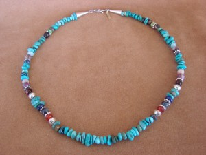 Navajo Indian Jewelry Hand Strung Turquoise and Jasper Necklace T&R Singer