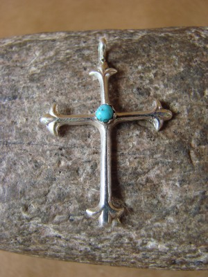 Small Navajo Jewelry Sterling Silver Turquoise Cross Pendant by Lorraine Chee
