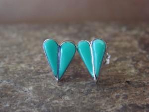 Zuni Indian Jewelry Sterling Silver Turquoise Heart Post Earrings!