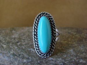 Native American Jewelry Sterling Silver Turquoise Ring! Size 7 1/2
