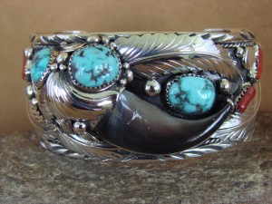 Navajo Indian Turquoise Coral Sterling Silver Bear Claw Bracelet - Elaine Sam HE314