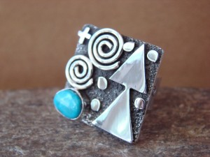 Native American Sterling Silver Turquoise Stamped Ring by Alex Sanchez Size 4 1/2