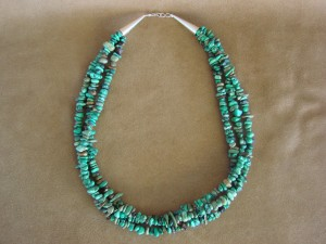Navajo Indian Jewelry 3 Strand Turquoise Necklace
