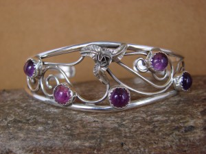 Native American Indian Jewelry Sterling Silver Amethyst Cluster Bracelet