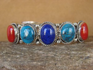 Native American Jewelry Sterling Silver Multi Stone Turquoise Bracelet! Running Bear