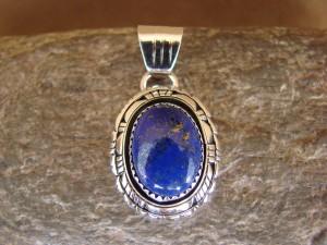 Native American Jewelry Sterling Silver Lapis Pendant - Andrew Vandever - TT0128