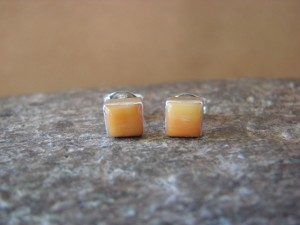 Native American Sterling Silver Square Yellow Lip Post Earrings Zuni