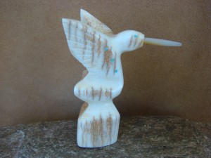 Zuni Indian Hand Carved  Antler Hummingbird Fetish by Brandon Phillips!
