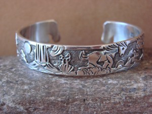 Native American Jewelry Sterling Silver Storyteller Horse Bracelet - Becenti BB0188