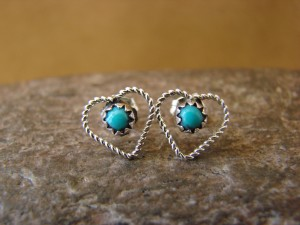 Navajo Indian Jewelry Dainty Sterling Silver Turquoise Heart Post Earrings!