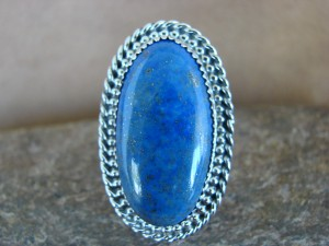 Navajo Indian Sterling Silver Lapis Ring, Size 6 1/2- Thomas Yazzie