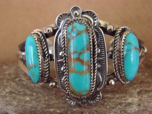 Navajo Indian Nickle Silver & Turquoise Bracelet by Bobby Cleveland!