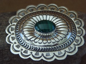 Navajo Indian Jewelry Sterling Silver Malachite Belt Buckle Carson Blackgoat