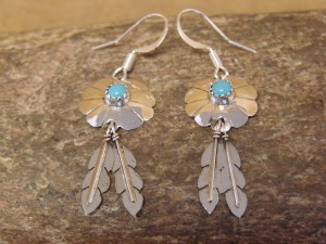 Navajo Indian Sterling Silver Turquoise Flower Dangle Feather Earrings!