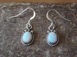 Native American Sterling Silver Opal Dangle Earrings! Jan Mariano