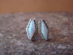 Zuni Indian Jewelry Sterling Silver Rectangular White Opal Post Earrings!