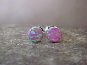 Native American Jewelry Sterling Silver Pink Opal Post Earrings! Zuni Indian
