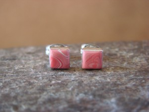 Native American Sterling Silver Square Rhodochrosite Post Earrings Zuni