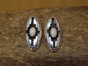 Zuni Indian Sterling Silver Shadowbox Opal Post Earrings