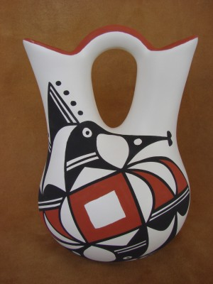 Native American Acoma Indian Pottery Hand Painted Wedding Vase! L Joe