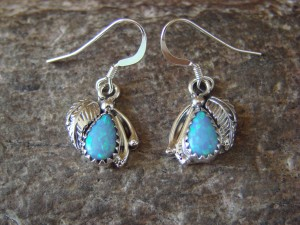 Native American Jewelry Sterling Silver Opal Dangle Earrings! McCarthy