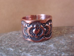 Navajo Indian Jewelry Copper Stamped Ring by Elroy Chavez, Size 11