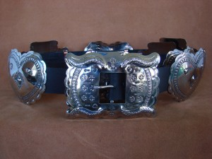 Native American Jewelry Hand Stamped Nickel Silver Concho Belt Carson Blackgoat BLT096