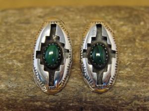 Zuni Indian Sterling Silver Shadowbox Malachite Post Earrings