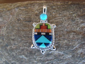 Zuni Indian Sterling Silver Turquoise, Coral Inlay Turtle Pendant! Bailey Gia