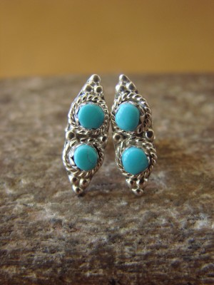 Native American Zuni Sterling Silver Turquoise Post Earrings! Handmade! Kathryn Qualo