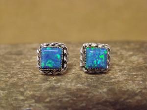 Zuni Indian Jewelry Sterling Silver Square Blue Opal Post Earrings!