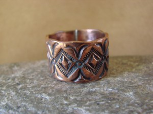 Navajo Indian Jewelry Copper Stamped Ring by Elroy Chavez, Size 10 1/2