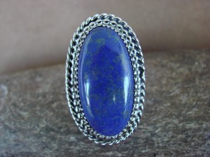 Navajo Indian Sterling Silver Lapis Ring, Size 6 1/2 - Thomas Yazzie