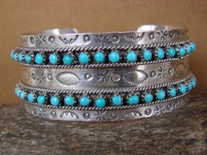 Native American Indian Jewelry Sterling Silver Handmade Turquoise Bracelet by Ukestine