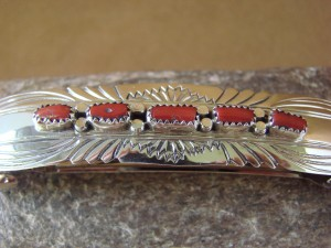 Native American Jewelry Hand Stamped Silver Coral Hair Barrette! Navajo Indian