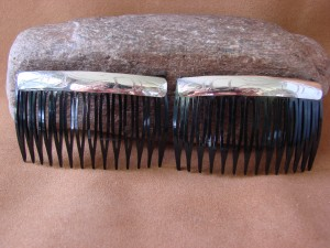 Native American Stamped Sterling Silver Hair Comb Set